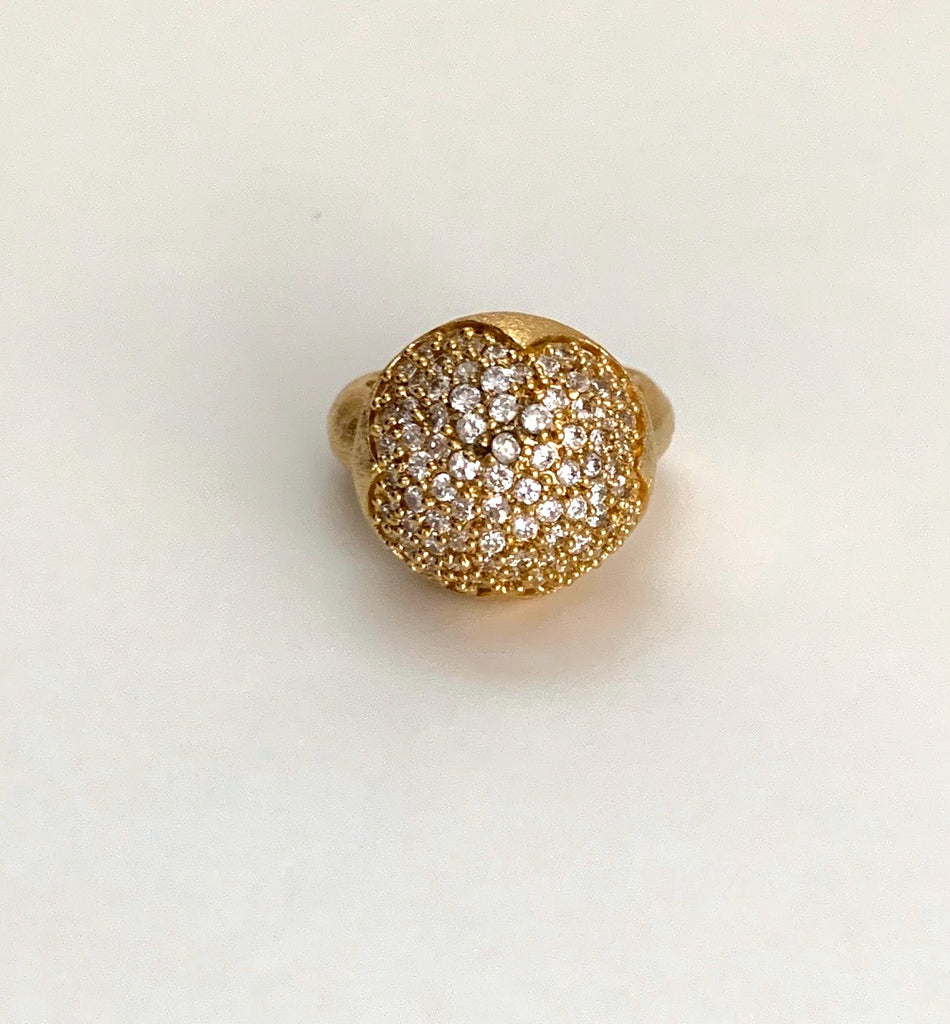 Cubic Zirconia Pave Domed Ring - Closeout