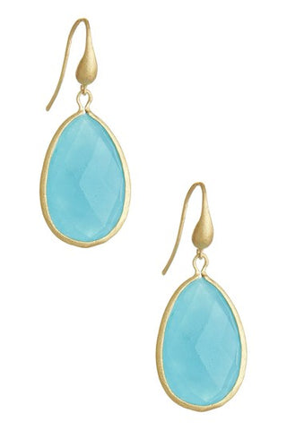 Caribbean Blue Quartzite Teardrop Dangle Earrings