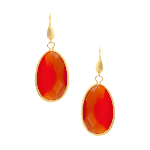 Cat's Eye Coral Teardrop Dangle Earrings