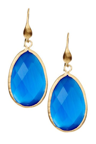 Teardrop Crystal Hook Dangle Earrings - Multiple Colors Available