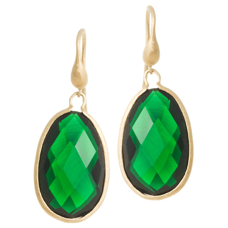 Emerald Teardrop Dangle Earrings