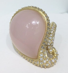 Rose Quartz + Simulated Diamond Cocktail Ring - Closeout