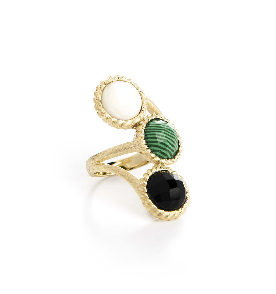 Mother of Pearl, Malachite + Onyx Ring