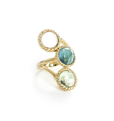Rock Crystal, London Blue and Apple Green Cocktail Ring