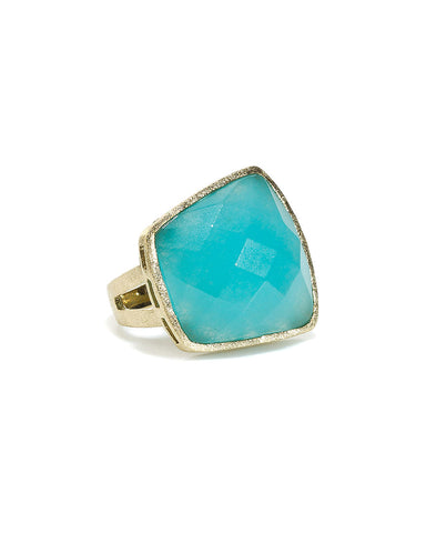 Caribbean Blue Quartzite Cocktail Ring - Closeout