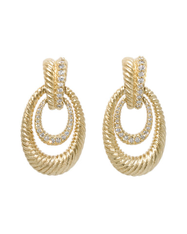 CZ Accent Satin Earrings - Closeout