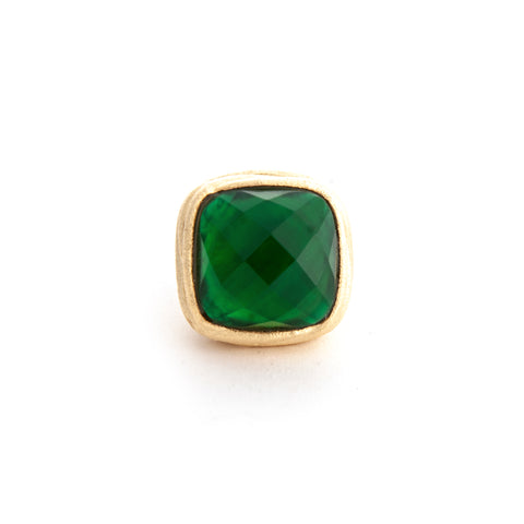 Emerald Doublet Ribbed Shank Ring - Closeout