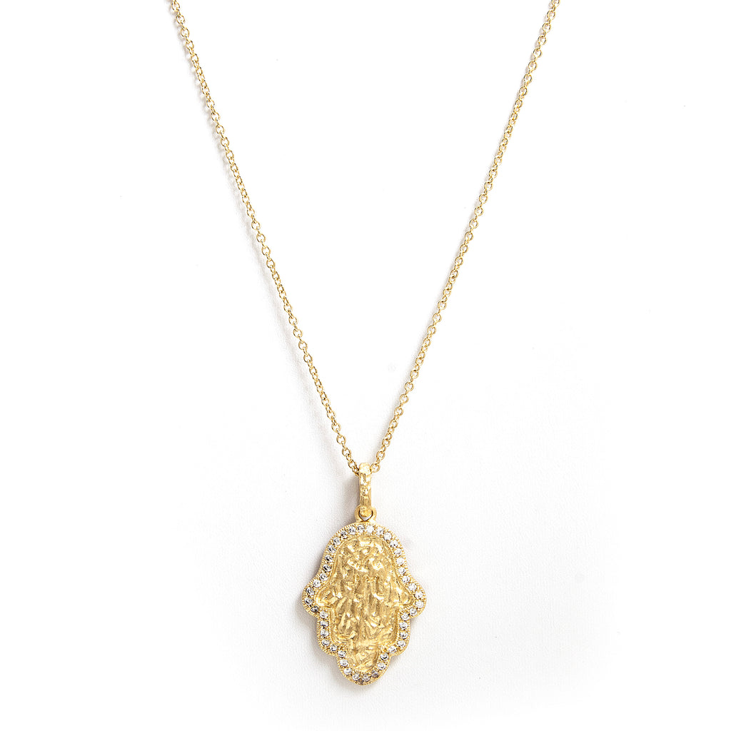 Simulated Diamond Accent Hamsa Pendant Necklace