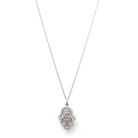 Rhodium Simulated Diamond Accent Hamsa Pendant Necklace
