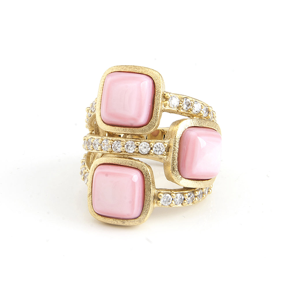 Pink Mother of Pearl & Simulated Diamond Cocktail Ring