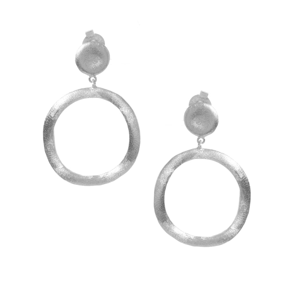 Rhodium Satin Ring Drop Earrings