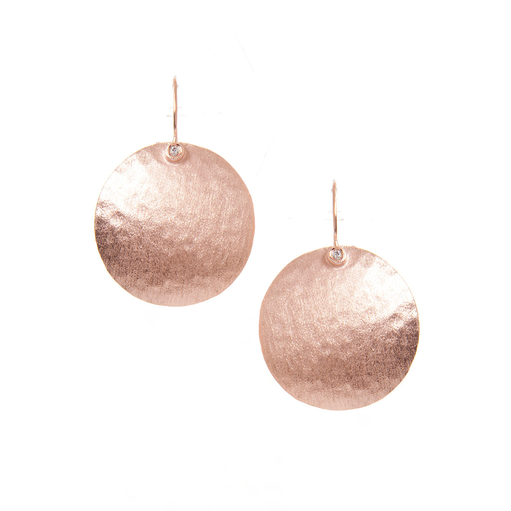 Rose Gold Textured Disc + Simulated Diamond Accent Earrings