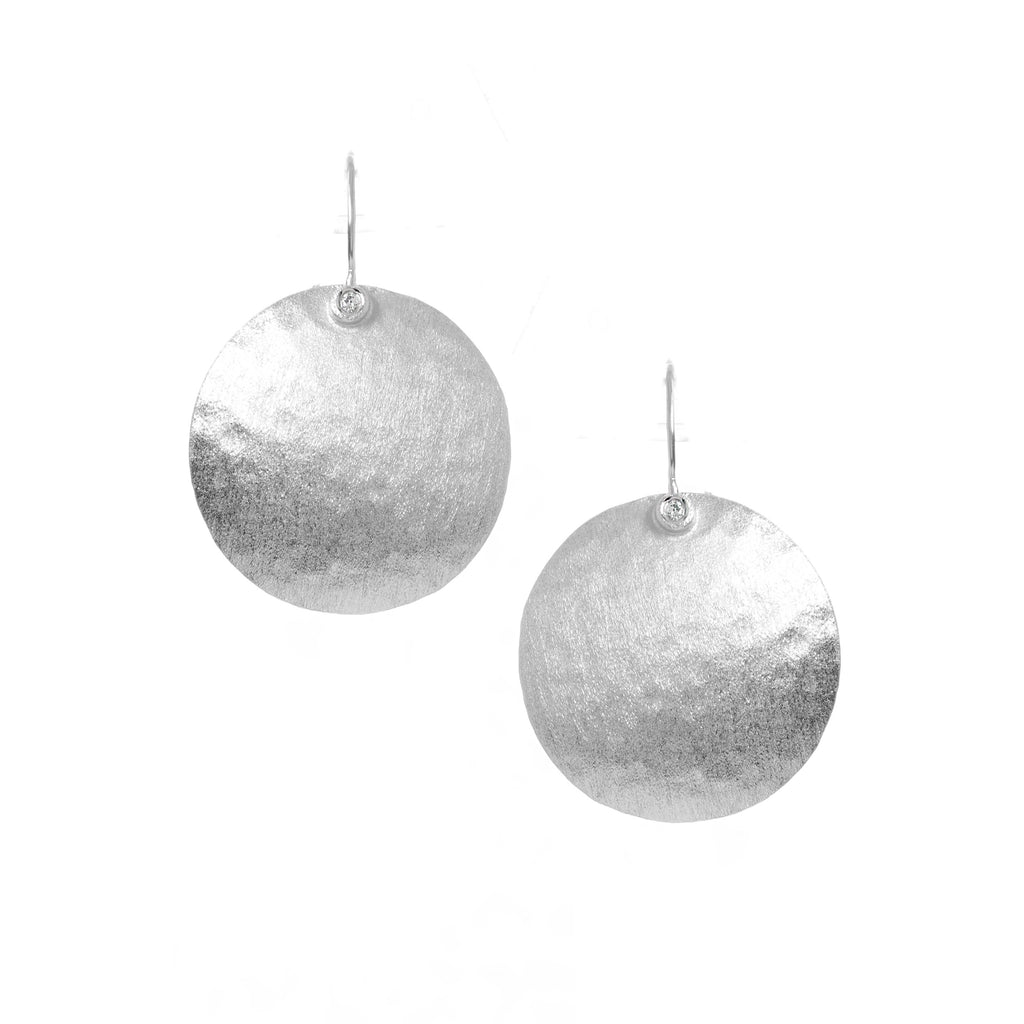 Rhodium Textured Disc With CZ Accent Earrings