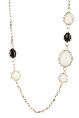 "Black & White Gem 27"" Station Necklace"