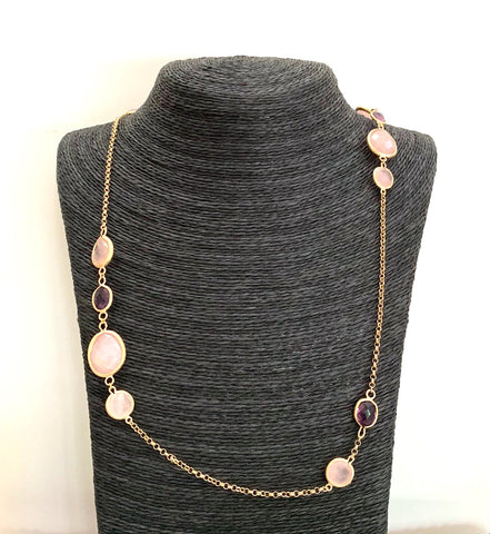 "Amethyst + Rose Quartz 27"" Station Necklace - Closeout"