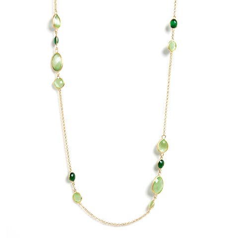 "Multi Cat's Eye 27"" Station Necklace"