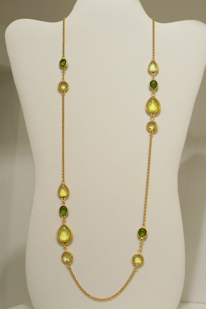"Lemon Chiffon + Canary + Peridot 27"" Station Necklace - Closeout"