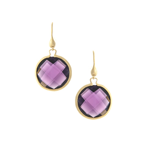 Amethyst Round Drop Earrings