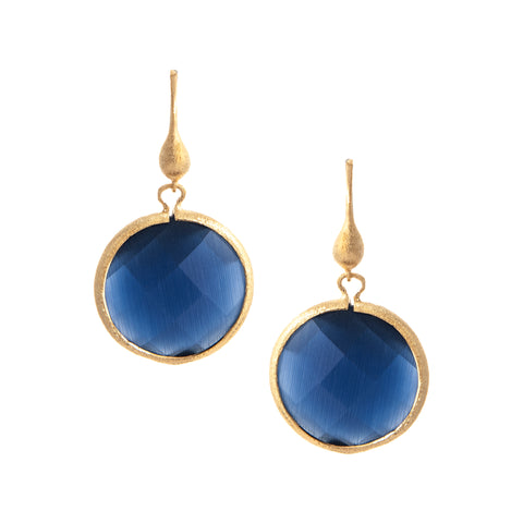 Cat's Eye Navy Round Drop Earrings