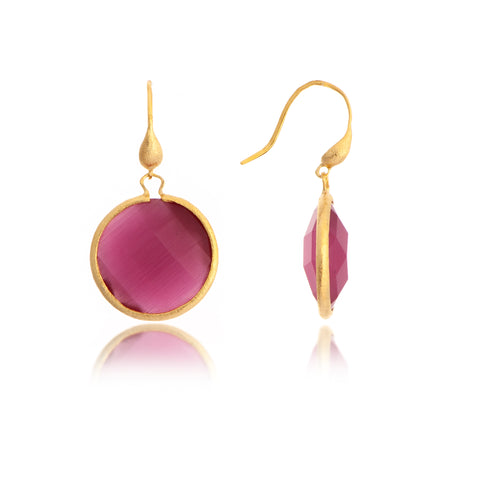 Cat's Eye Raspberry Round Drop Earrings