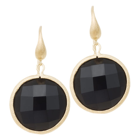 Onyx Round Drop Earrings