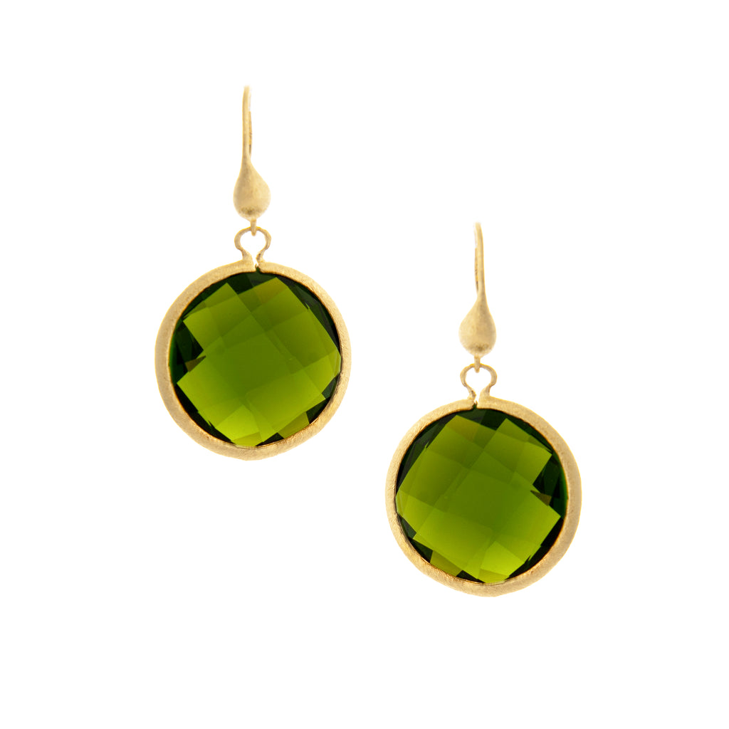 Peridot Round Drop Earrings