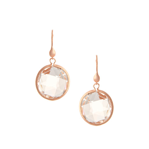 Rose Gold Rock Crystal Round Drop Earrings