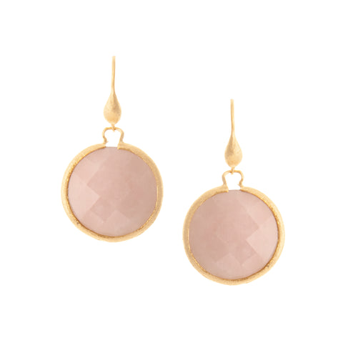 Rose Quartz Round Dangle Earrings