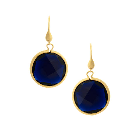 Sapphire Round Drop Earrings