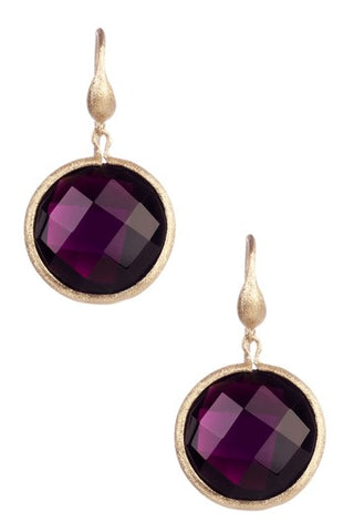 Rubellite Tourmaline Round Drop Earrings