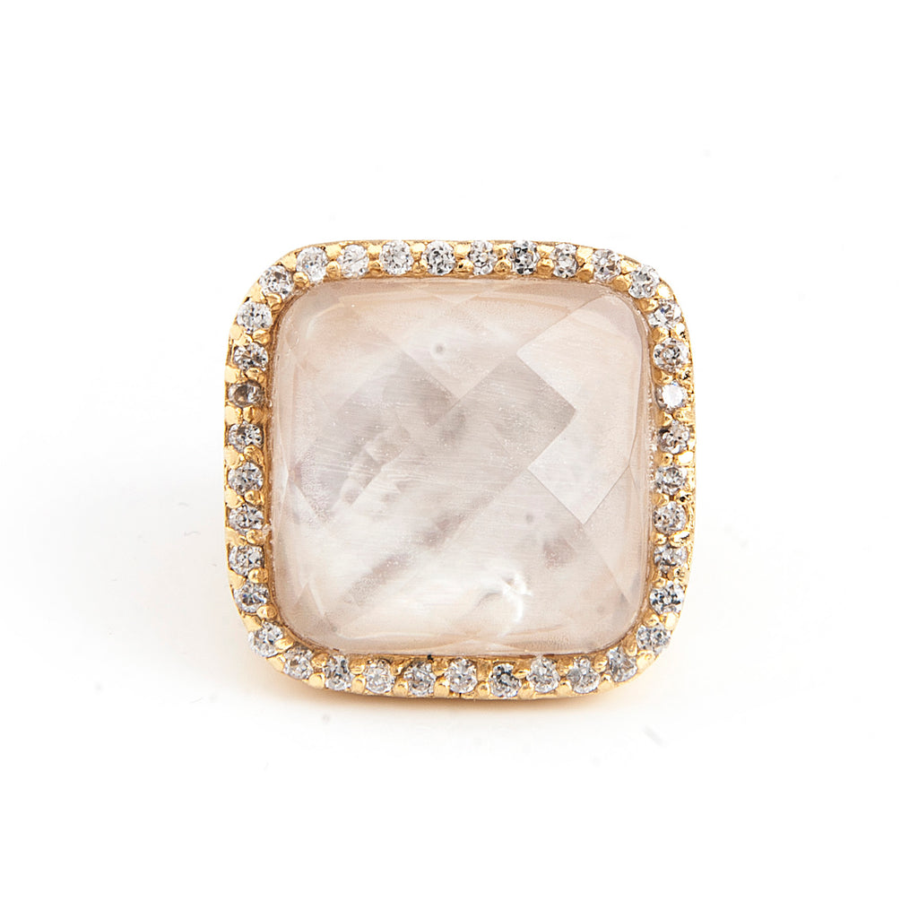 Mother of Pearl Doublet + Cubic Zirconia Cocktail Ring - Closeout