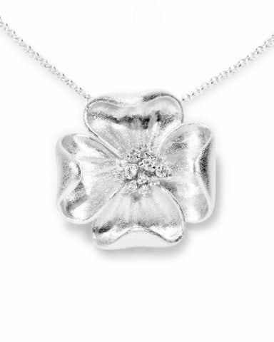 Rhodium Simulated Diamond Accent Flower Pendant Necklace