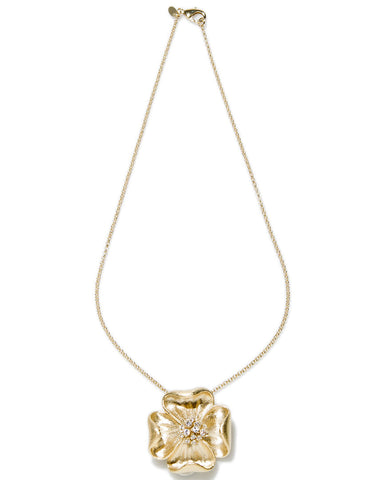 Simulated Diamond Accent Flower Pendant Necklace - Closeout