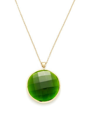 "Faceted Peridot Round Pendant 36"" Necklace"