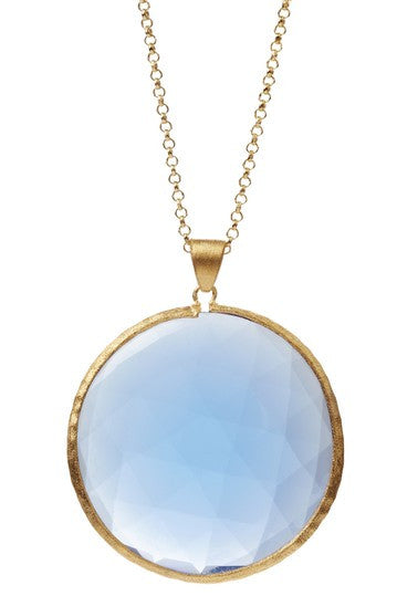 "Faceted Swiss Blue Bold Round Pendant 36"" Necklace"