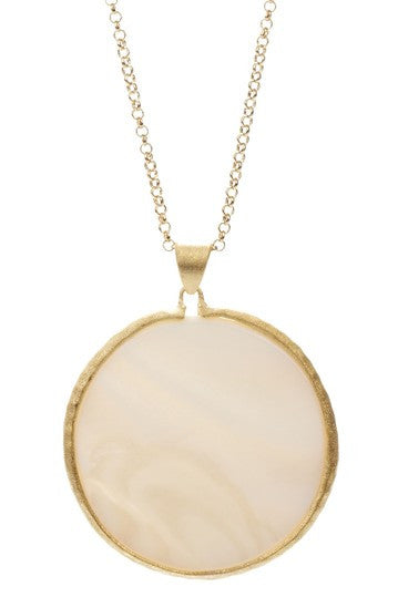 "Mother of Pearl Round Pendant 36"" Necklace"