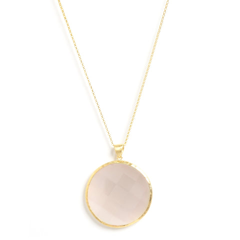 "White Cat's Eye Round Pendant 28"" Necklace"