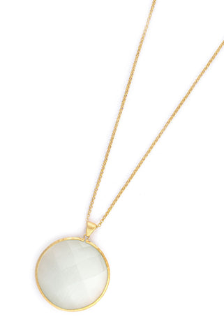 "Cat's Eye White Sliced Round Pendant 36"" Necklace"