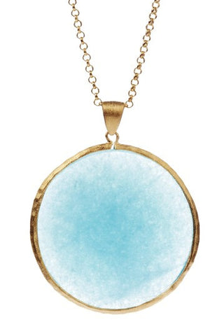 "Caribbean Blue Quartzite Round Pendant 36"" Necklace"
