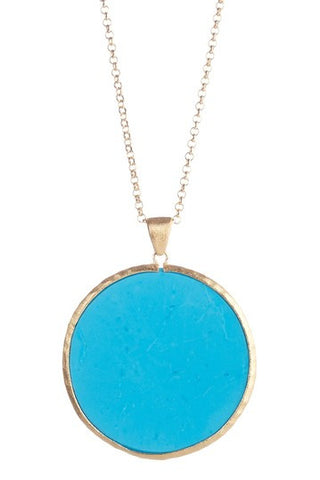 "Magnesite Round Pendant 28"" Necklace - Closeout"