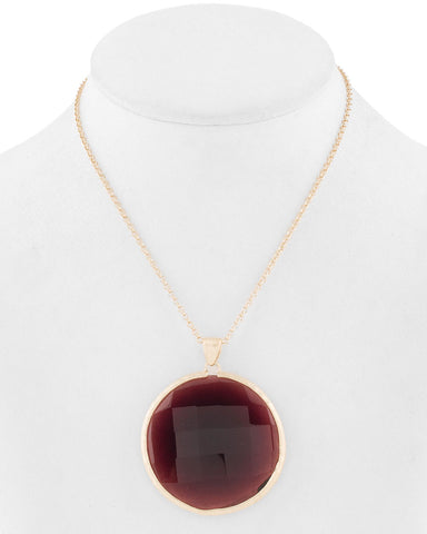 "Tourmaline Round Pendant 36"" Necklace"