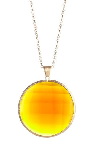 "Amber Citrine Round Pendant 36"" Necklace"