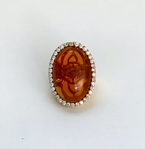 Amber Citrine Crystal + Cubic Zirconia Bold Oval Bezel Ring - Closeout
