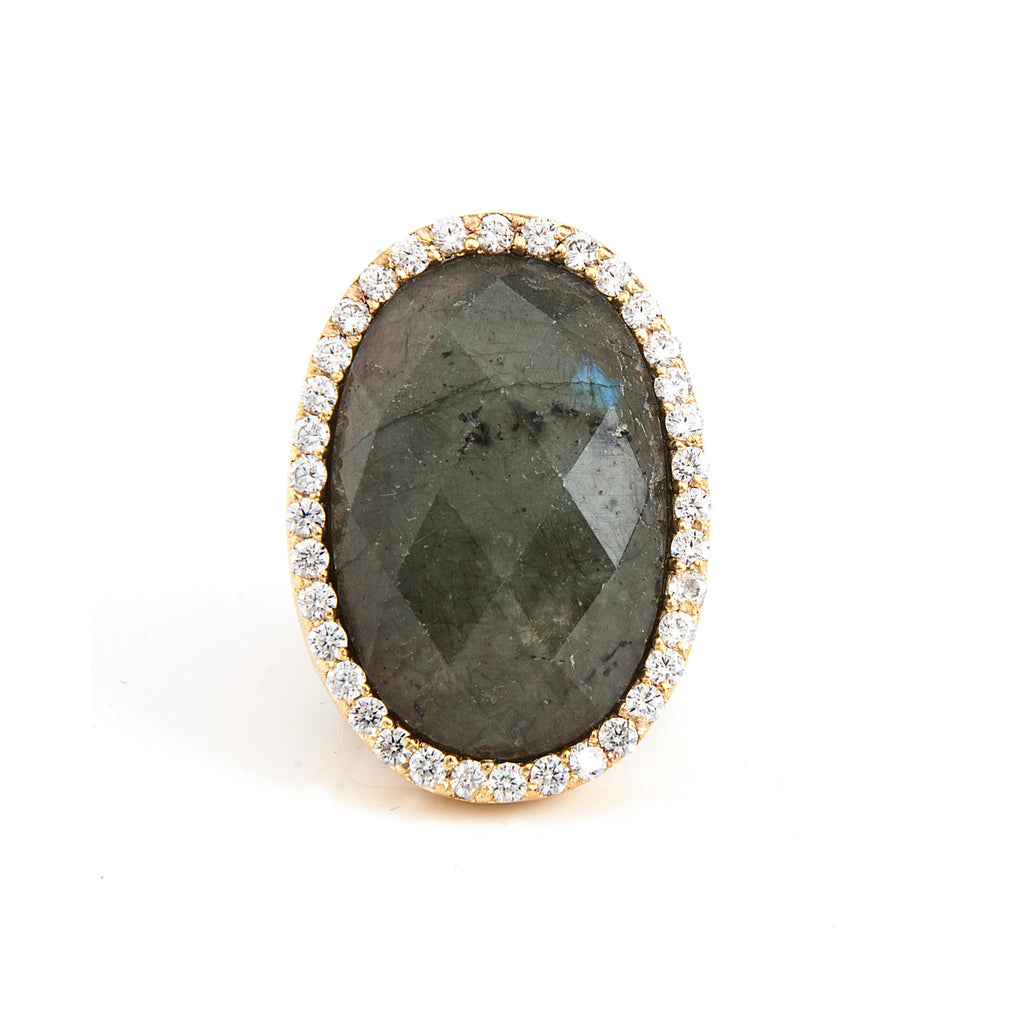 Labradorite + Simulated Diamond Bold Oval Bezel Ring