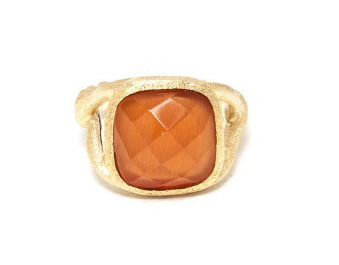 Orange Cat's Eye Split Shank Cocktail Ring