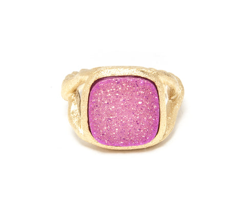 Pink Druzy Quartz Twisted Shank Ring