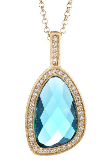 London Blue Crystal + Simulated Diamond Pendant