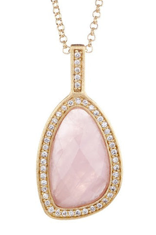 Rose Quartz + Simulated Diamond Pendant