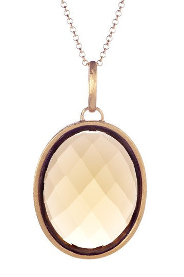 Golden Olive Crystal Oval Pendant Necklace