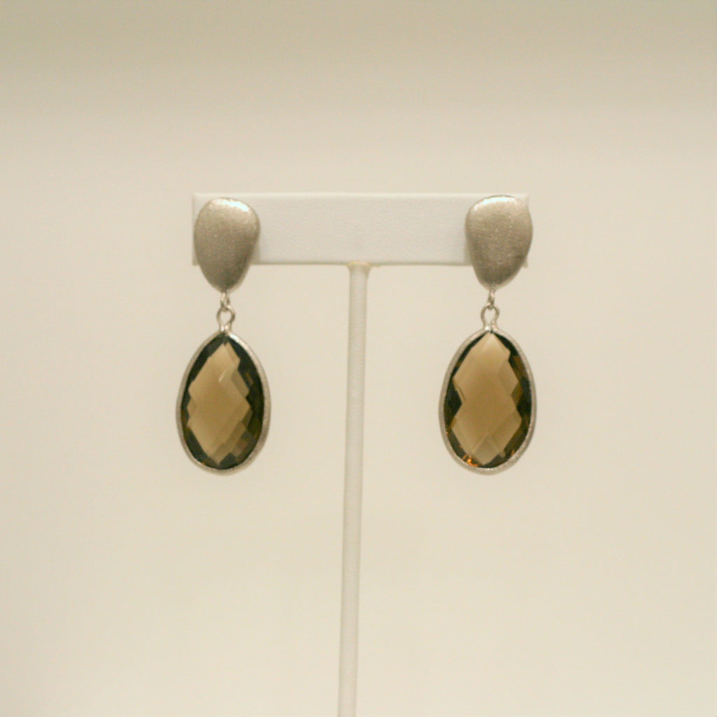 Rhodium Smokey Teardrop Earrings - Closeout